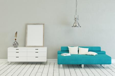 blue sofa in modern scandinavian Interior design with canvas