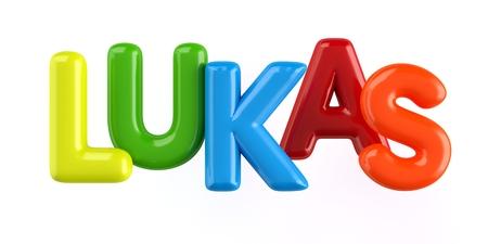 colorfull 3d Kid Name balloon font Louis on white background Stock Photo