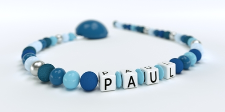 A blue pacifier chain for boys with name Louis 3D Illustration