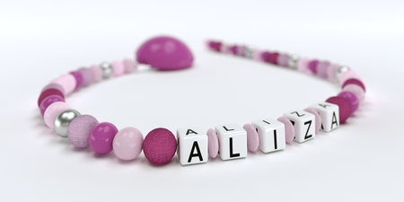 A pink pacifier chain for girl with name Louis 3D Illustration