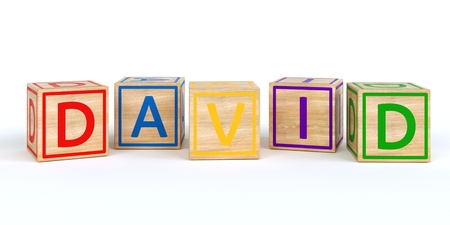 Isolated wooden toy cubes with letters with name Louis 3D Illustration
