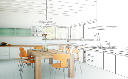 Interior Design Kitchen Drawing Gradation Into Photograph 3D Illustration Stock Photo