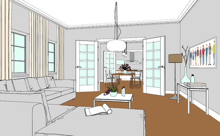 Interior Design Living Room Drawing 3D Illustration