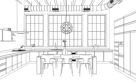 Interior Design modern Kitchen Drawing Plan 3D Illustration