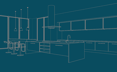 Interior Design modern Kitchen Drawing Plan 3D Illustration