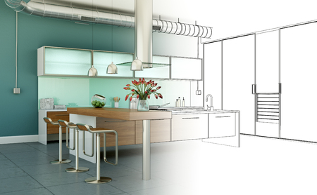 Interior Design Kitchen Drawing Gradation Into Photograph 3D Illustration 스톡 콘텐츠
