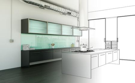 Interior Design Kitchen Drawing Gradation Into Photograph 3D Illustration Reklamní fotografie