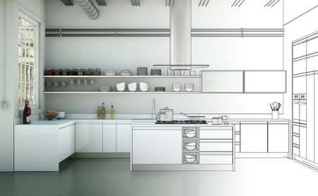 Interior Design Kitchen Drawing Gradation Into Photograph 3D Illustration Stok Fotoğraf