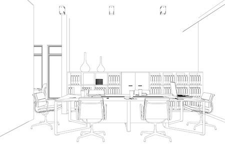 Interior Design big Office Room with desks custom Drawing 3D Illustration