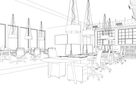 Interior Design big Office Room with desks custom Drawing 3D Illustration 版權商用圖片 - 101980630