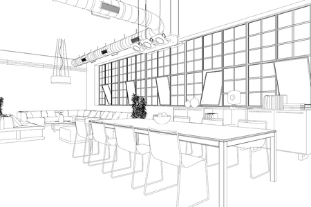 Interior Design Modern Loft Dining Room Drawing 3d Illustration