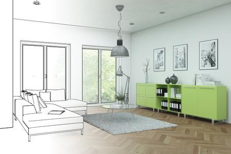 Interior Design Modern Loft Drawing Gradation Into Photograph 3D Illustration