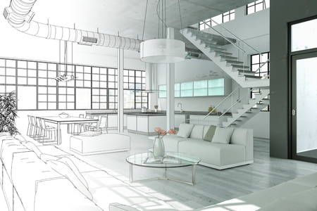 Interior Design Modern Loft Drawing Gradation Into Photograph 3D Illustration