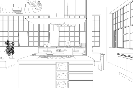 Interior Design modern Loft Kitchen Drawing 3D Illustration Stok Fotoğraf