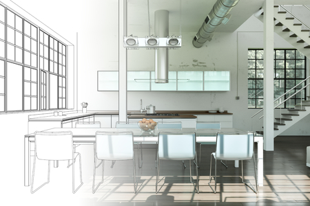 Interior Design Modern Loft Drawing Gradation Into Photograph 3D Illustration Imagens - 103471704