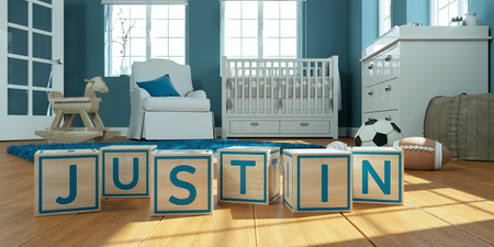3D Illustration of the name justin written with wooden toy cubes in childrens room