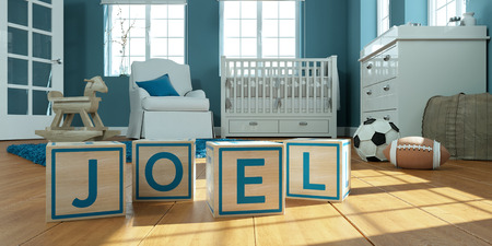 3D Illustration of the name joel written with wooden toy cubes in childrens room Imagens
