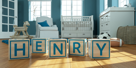 3D Illustration of the name henry written with wooden toy cubes in childrens room Imagens