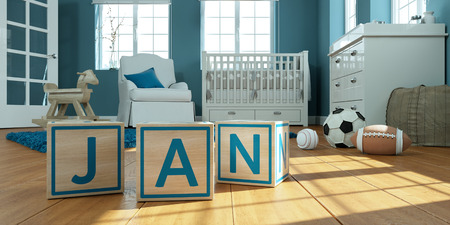 3D Illustration of the name jan written with wooden toy cubes in childrens room Imagens