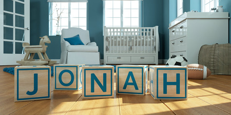 3D Illustration of the name jonah written with wooden toy cubes in childrens room