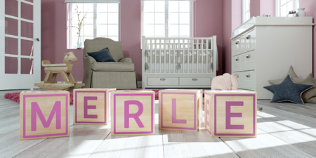 3D Illustration of the name merle written with wooden toy cubes in childrens room Imagens
