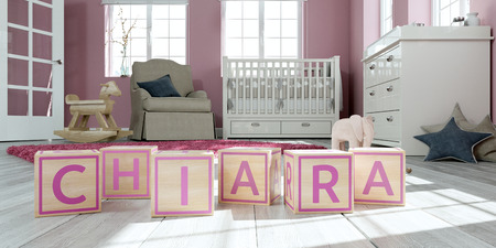 3D Illustration of the name chiara written with wooden toy cubes in childrens room Imagens