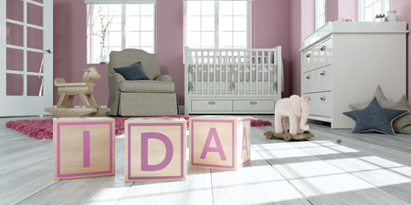 3D Illustration of the name ida written with wooden toy cubes in childrens room