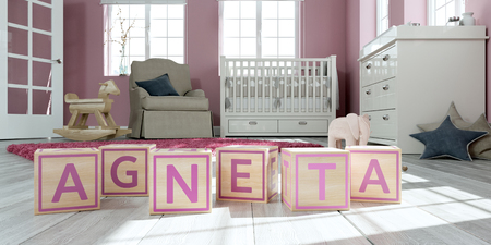 3D Illustration of the name agneta written with wooden toy cubes in childrens room