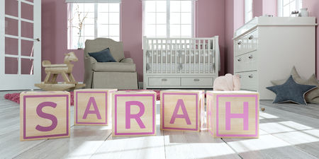 3D Illustration of the name sarah written with wooden toy cubes in childrens room
