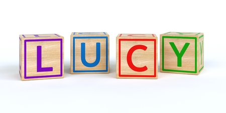 3D Illustration of the name lucy written with Isolated wooden toy cubes Stock Photo