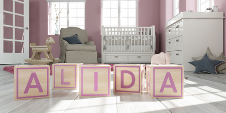 3D Illustration of the name alida written with wooden toy cubes in childrens room Imagens
