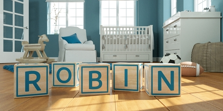 3D Illustration of the name robbin written with wooden toy cubes in childrens room