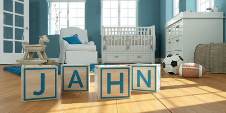 3D Illustration of the name jahn written with wooden toy cubes in childrens room