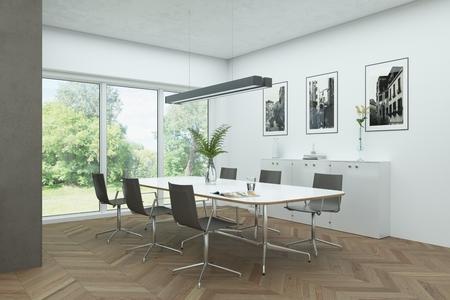 modern white skandinavian interior design diining room 3d Illustration