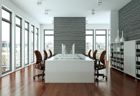 modern large greyoffice interior Design 3d Rendering mock up