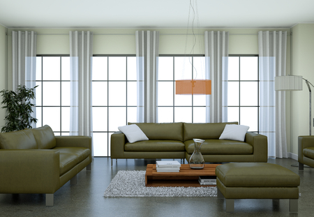 Charmant Modern Minimalist Living Room Interior In Loft Design Style With Sofas 3d  Rendering Standard Bild
