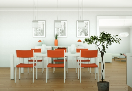 Dining room interior design in modern appartment 3D Illustration
