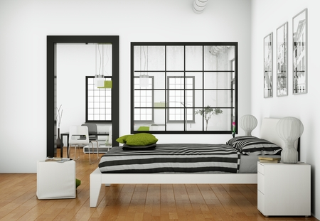 modern bedroom with 3 Photoframes on the Wall 3d Illustration Stockfoto
