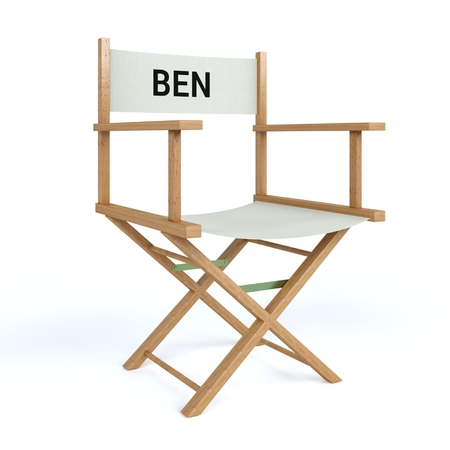 Name written on director chair on isolated white background Illustration
