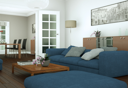 modern bright skandinavian interior design appartment 3d Illustration