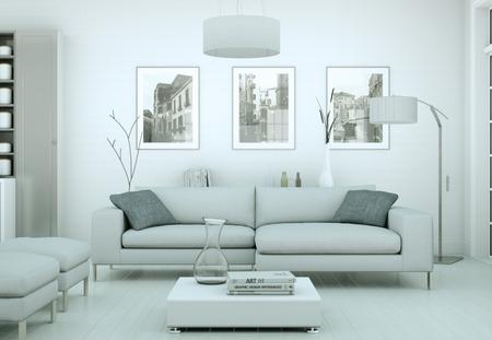 modern bright skandinavian interior design appartment 3d Illustration