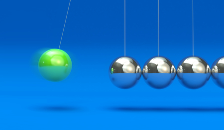 Newtons Cradle isolated on blue background 3d Illustration 写真素材