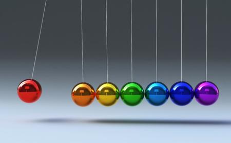 Colerful Newton-Wiege lokalisiert auf grauer Hintergrund 3d Illustration Standard-Bild