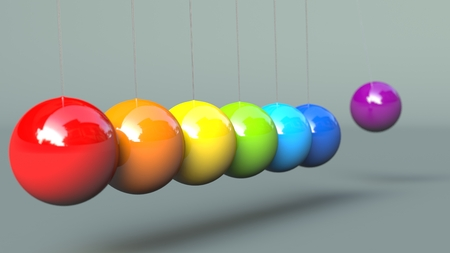 Colerful Newtons Cradle isolated on grey background 3d Illustration 版權商用圖片