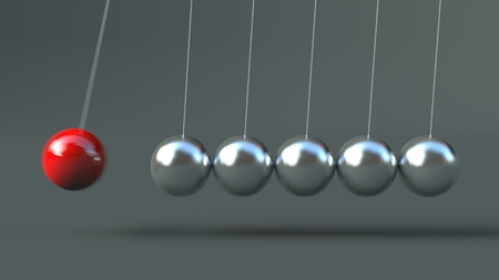 Newtons Cradle isolated on grey background 3d Illustration