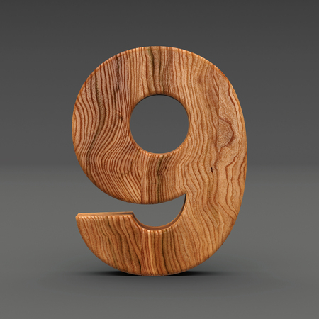 Wooden number isolated on dark background 3D Illustration Stock Photo