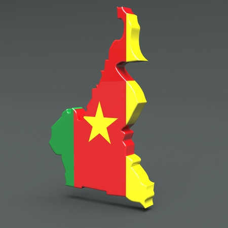 Africa countries 3D flag maps on a grey background 3d Illustration