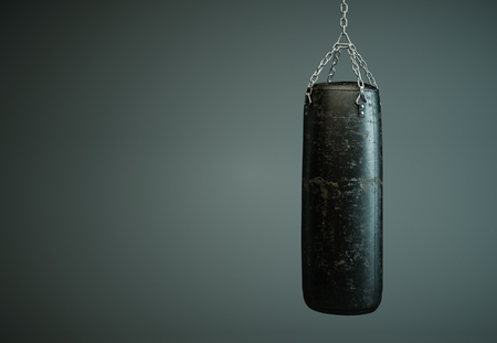 Black leather punching bag in empty room 3d Illustration