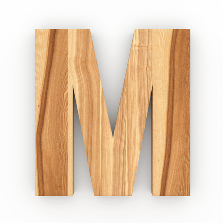 Wooden letter M isolated on white background 3D Illustration