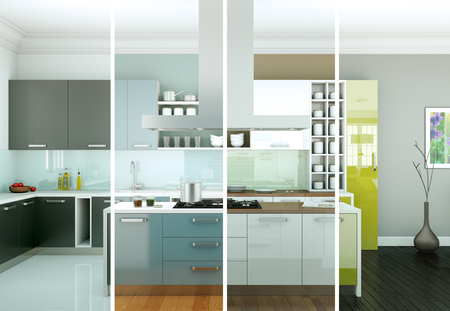 3d Illustration of Splitted color variations of a modern kitchen with a beautiful design